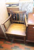***LOCATED AT GRESLEY****A leather seat Georgian single chair and a George III country oak carver