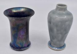 Ruskin Pottery: 2 Ruskin Pottery miniature vases to include flared vase with iridescent glaze,