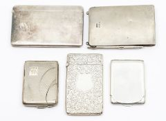 A collection of silver to include: a combination notepad and card holder, with pencil, by Sydney &