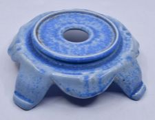 Ruskin Pottery: A Ruskin Pottery stand in the Oriental taste decorated in a tonal blue crystalline
