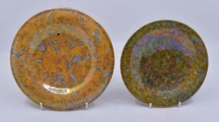 Ruskin Pottery: Ruskin Pottery shallow dish and cup and saucer. The larger dish is in a orange and