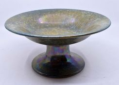 Ruskin Pottery: A Ruskin Pottery comport with a green speckled lustre glaze, diameter approx 24cm,