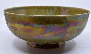 Ruskin Pottery: A Ruskin Pottery egg-shell porcelain bowl with brown and green mottled lustre glaze,