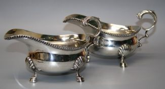 Goldsmiths and Silversmiths company limited, a pair of Geo.VI silver sauce boats, each with acanthus