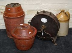 A Doulton and Watts stoneware flagon named Drinkwater, Banbury together with a terracotta bread