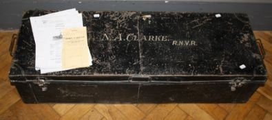 A WWII Naval tin trunk, formally the property of Sub Lieutenant N.A. Clarke RNVR, together with
