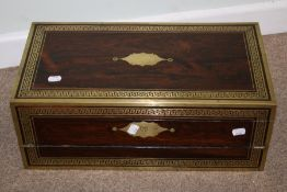 A 19th century rosewood, brass bound writing slope, the hinged top and front with Greek key