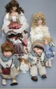 Seven late 20th century Knightsbridge Heirloom, Alberon and other collector's dolls, four with