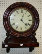 A 19th century probably American mahogany cased 30 hour wall clock. With painted zinc dial and