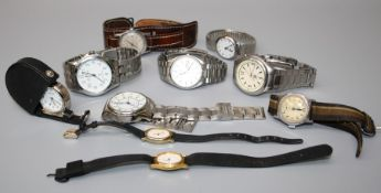 A gentleman's Seiko wristwatch, a Baume wristwatch and a quantity of other wristwatches
