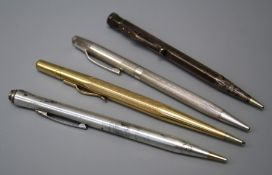 A collection of  20th century three silver and one rolled gold propelling pencils. (4)