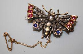 A Victorian gemset Butterfly brooch/pendant. 2 x rose cut diamonds missing
