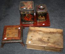 A Vintage Teacher's whisky wooden box, a Japanese red lacquer tray, two storage tins decorated