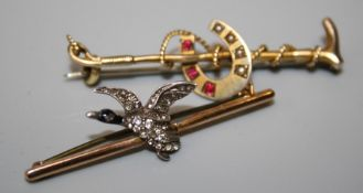 A Victorian Horseshoe and Riding crop brooch and a brooch with Mallard in flight, set paste (2)