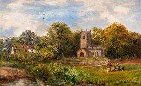 George Turner (British, 1843-1910), The Church, Barrow on Trent, signed l.r., titled verso, oil on