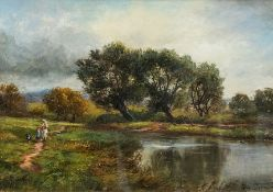 George Turner (British, 1843-1910), A Pool near Foremark, signed l.r., titled verso, oil on