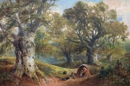 George Turner (British, 1843-1910), Gipsies in the Wood, signed l.l., titled verso, oil on canvas,