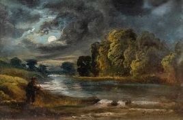 George Turner (British, 1843-1910), Moonlight on the Trent, signed l.r., titled verso, oil on board,