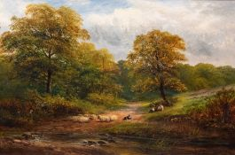 George Turner (British, 1843-1910), A Wayside Rest, a Derbyshire Lane, signed and dated 1886 l.r.,