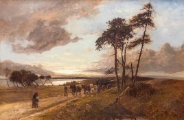 William Manners (British, 1860-1942), a horse and cart and figures on a lane at dusk, signed and