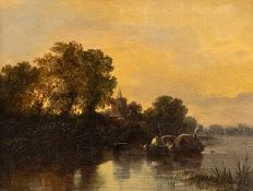 British School, 19th Century, a barge on a river at dusk, church beyond, and a fishing boats on a