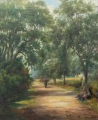 George Turner (British, 1843-1910), A Lane near Barrow, signed l.r, titled verso, oil on canvas,