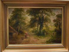 George Turner of Derby (British 1843-1910), Idridge Hay, Derbyshire, oil on board, signed lower