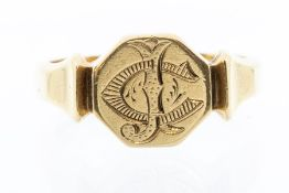 An 18ct gold signet ring, the octagonal form monogrammed with J C, size T1/2, weight approx 7.9gms