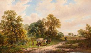 George Turner (British, 1843-1910), A Gypsy Camp near Milton, Derbyshire, signed l.l, titled