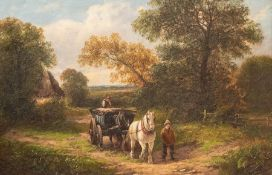 George Turner (British, 1843-1910), A Farmstead of Findern, signed l.r., titled verso, oil on