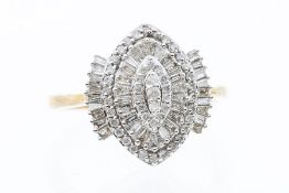 A diamond and 9ct gold dress ring, comprising a navette shaped head, set with alternate rows of
