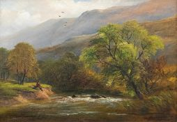 George Turner (British, 1843-1910), Monsal Dale, North Derbyshire, signed l.r., titled verso, oil on