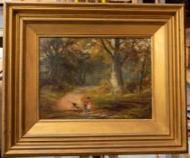 George Turner (British, 1843-1910), Crossing the Stepping Stones, signed l.r., titled verso, oil
