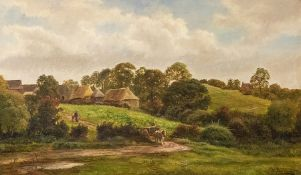 George Turner (British, 1843-1910), Farmstead near Ingleby, signed l.r., titled verso, oil on