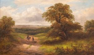 George Turner (British, 1843-1910), A View near Stanton by Bridge, signed l.r., titled verso, oil on