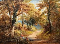 George Turner (British, 1843-1910), Blackmore.....Derbyshire, signed l.r., oil on board, 23 by 30cm,