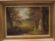 George Turner of Derby (British, 1843-1910), A Stream at Ireton Wood, Derbyshire, oil on board,