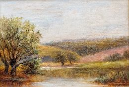 George Turner (British, 1843-1910), The Trent, Barrow, signed l.l., titled verso, oil on board, 8 by