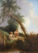 Edward Charles Williams (British, 1807-1881), two figures fishing, oil on canvas, 30 by 21cm, gilt