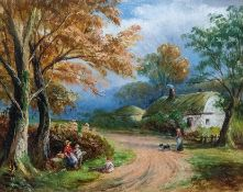 George Turner (British, 1843-1910), landscape with a cottage, figures and a dog on a lane, signed