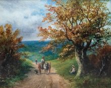 George Turner (British, 1843-1910), landscape with a pony trap, dog and figures on a lane, signed