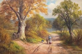 George Turner (British, 1843-1910), A Country Lane, Derbyshire, signed and dated 1890 l.r., titled