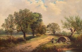 Follower of George Turner, a country lane with a figures in a tent and a dog by a pond, bears