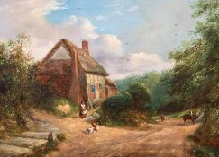George Turner (British, 1843-1910), a timber framed thatched cottage with a figure feeding chickens,