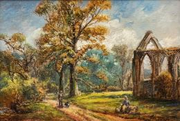 George Turner (British, 1843-1910), landscape with a ruin, figures and dog on a lane, signed l.r.,