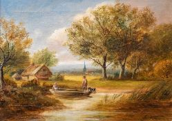 George Turner (British, 1843-1910), A Quiet Pool near Barrow, signed l.r., titled verso, oil on