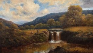 George Turner (British, 1843-1910), a landscape with a waterfall, a fisherman, infants and a dog,