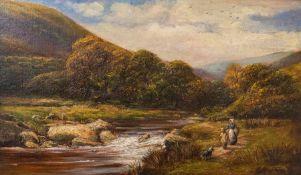 George Turner (British, 1843-1910), In Dovedale, Derbyshire, signed l.r., titled verso, oil on