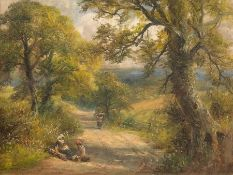 George Turner (British, 1843-1910), On the Way to Kirk Ireton, signed l.l., titled verso, oil on