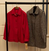 WITHDRAWN A Daks Red Wool 3/4 coat sample gathered cuffs and slit pockets. A Daks Houndstock check